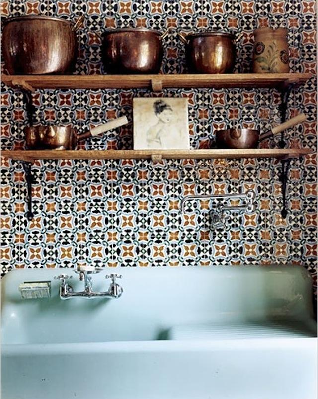Hand-painted kitchen tiles