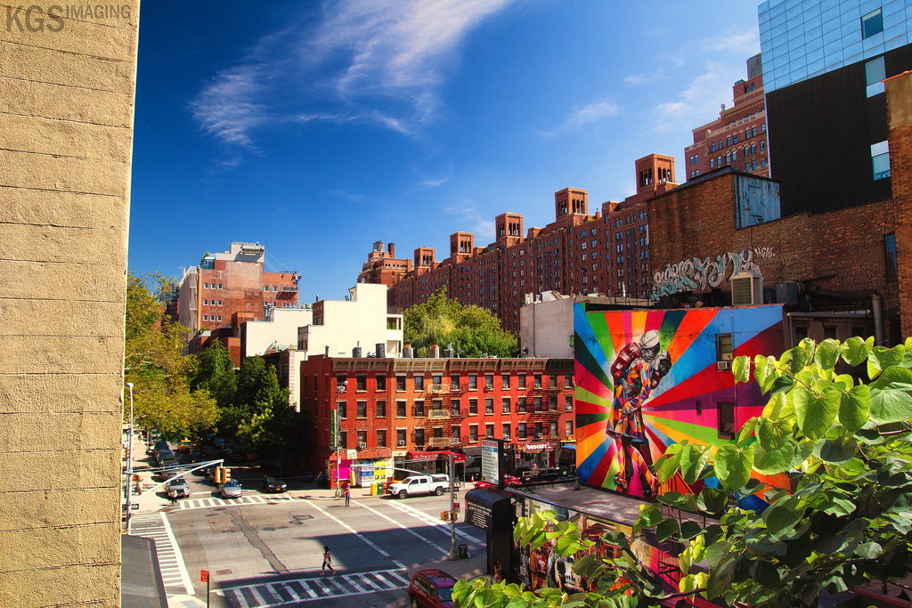 Some awesome color in Chelsea, viewed from the High Line.